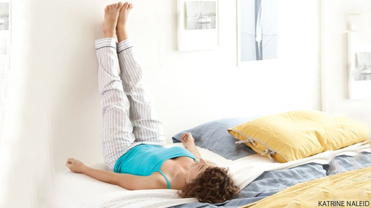 For a Headache Try Viparita Karani (Legs-Up-the-Wall Pose) Lie on your back and lift your legs to a 9o-degree angle, flush with a wall. Spending 5–1o minutes here can help release the tight neck muscles that can trigger a tension headache.