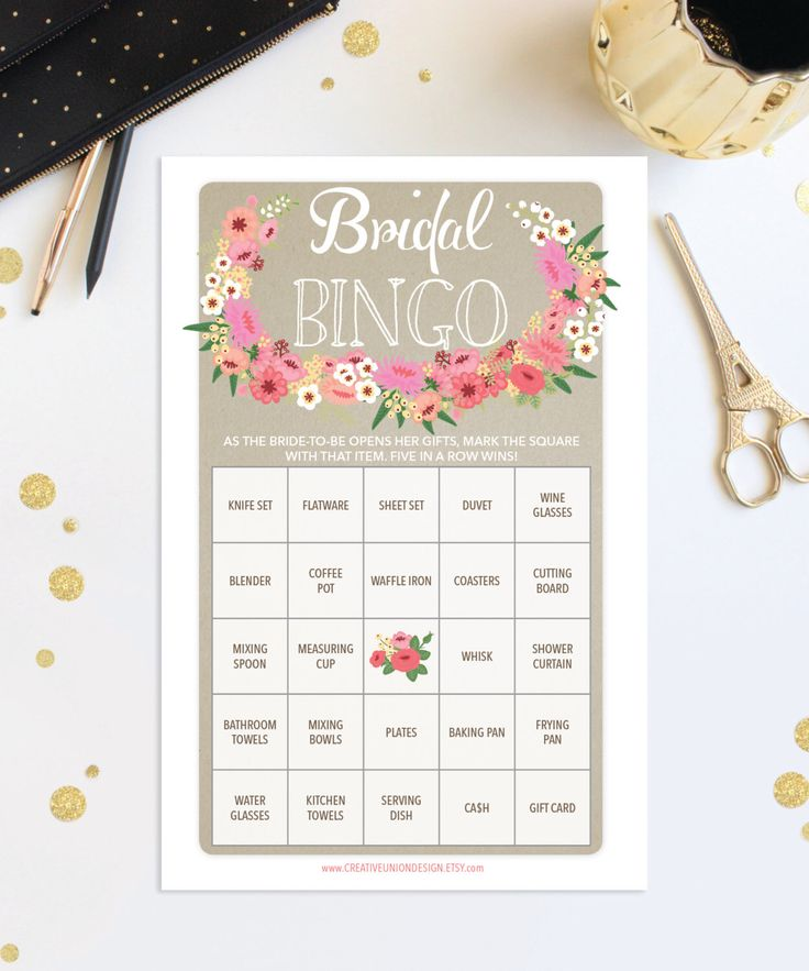 couples bridal shower games free%0A Bridal Shower Game Idea Bridal Shower Bingo  Only from  CreativeUnionDesign Etsy com https