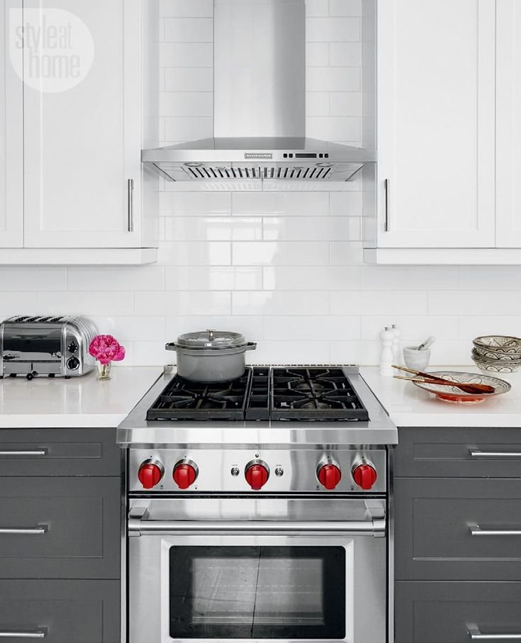 Modern Kitchen With Grey Lower Cabinets And Stainless Steel Appliances  {PHOTO: Stacey Brandford} Part 43