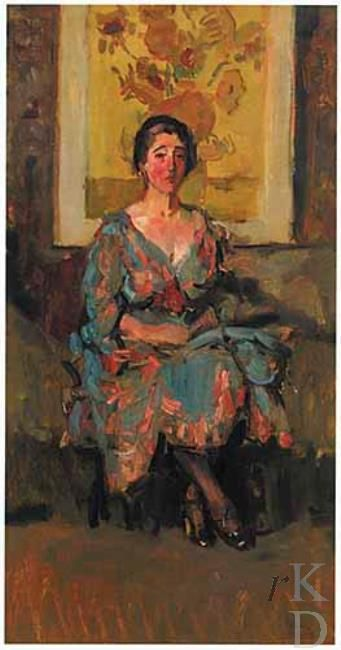 In 1916 Isaac Israels got Van Gogh's 'Sunflowers' on loan from Jo van Gogh-Bonger. He made several paintings with 'Sunflowers' on the background.  More info: http://explore.rkd.nl/nl/explore/images/184952