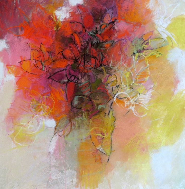 Red Flowers 22x22 pastel by Debora Stewart - Pastel