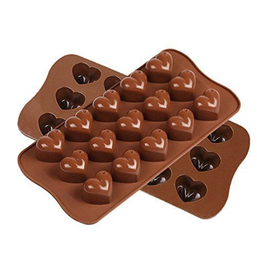 Candy Mold, Smaier Silicone mold Chocolate Molds Candy Making Molds - Ice Cube DIY Baking Molds - Heart Shaped Jelly Pan 15-Cavity (set of 2) - http://bestchocolateshop.com/candy-mold-smaier-silicone-mold-chocolate-molds-candy-making-molds-ice-cube-diy-baking-molds-heart-shaped-jelly-pan-15-cavity-set-of-2/