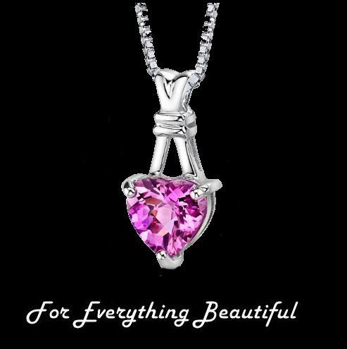 Pink Sapphire Heart Cut Modern Sterling Silver Pendant