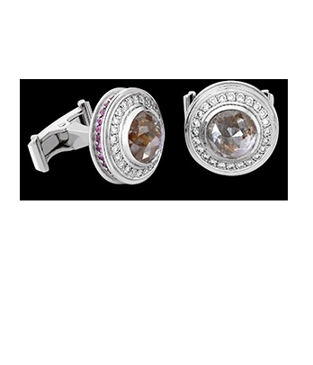 White Gold and Brown Diamond Cufflinks
