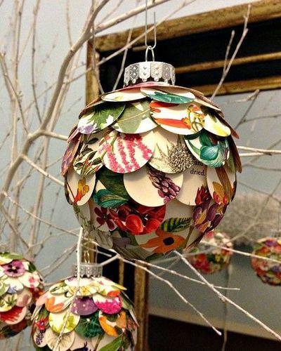 Artichoke Christmas Ornament DIY - great way to repurpose old Christmas cards!!!