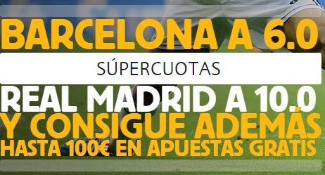http://apuestaslegales.es/previa-especial-el-clasico-barcelona-real-madrid-22-marzo-2015/ Increíbles supercuotas para el Clásico , dentro del artículo encontraréis cuota 10 para el Barcelona o el Madrid