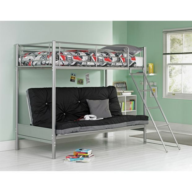 Buy Metal Bunk Bed & Futon with Elliott Mattress-Silver & Black at Argos.co.uk - Your Online Shop for Children's beds, Beds, Home and garden.