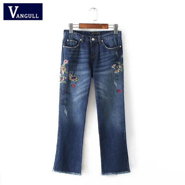 VANGULL Embroidered jeans for women ripped jeans with embroidery boyfriend New Fashion Style Embroidery Jeans Trousers