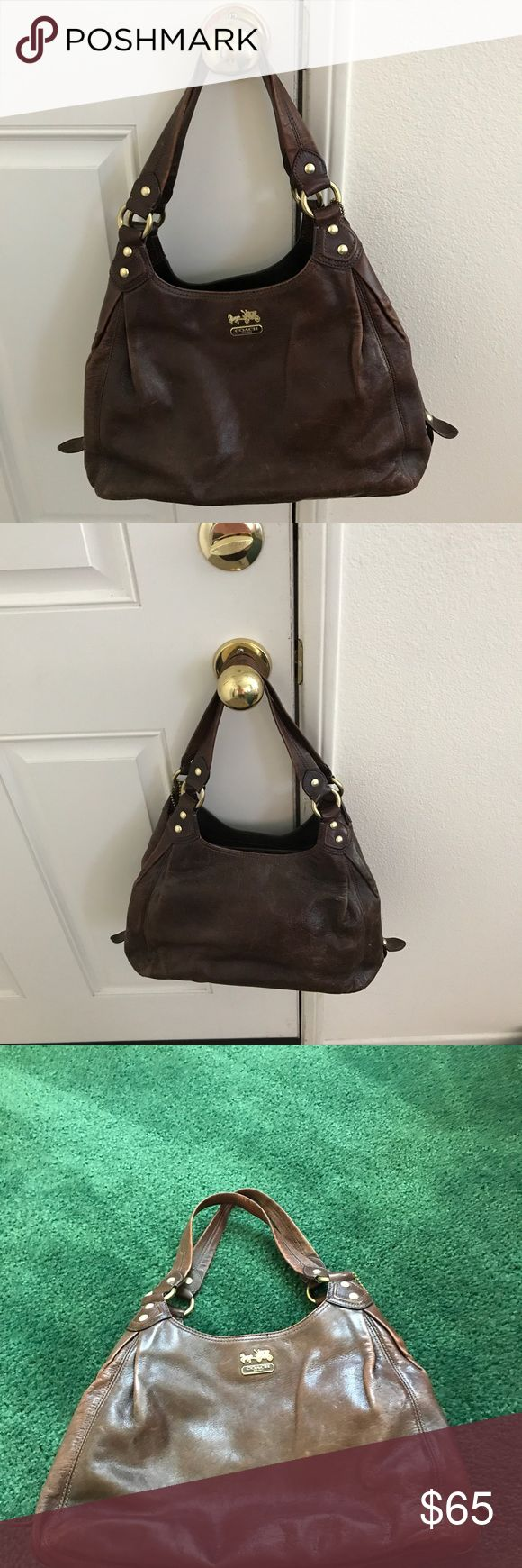 """COACH LEATHER BAG COACH LEATHER BAG GOOD CONDITION SHOWS SOME WEAR NO RIPS, TEARS OR STAINS. NO PET OR SMOKE ODORS. STRAPS ARE 15"""" Coach Bags Satchels"""