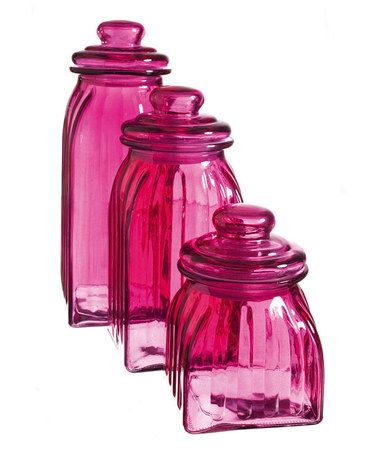 Take a look at this Pink Glass Jar Set by Cypress Home on #zulily today!these would be great for my kitchen