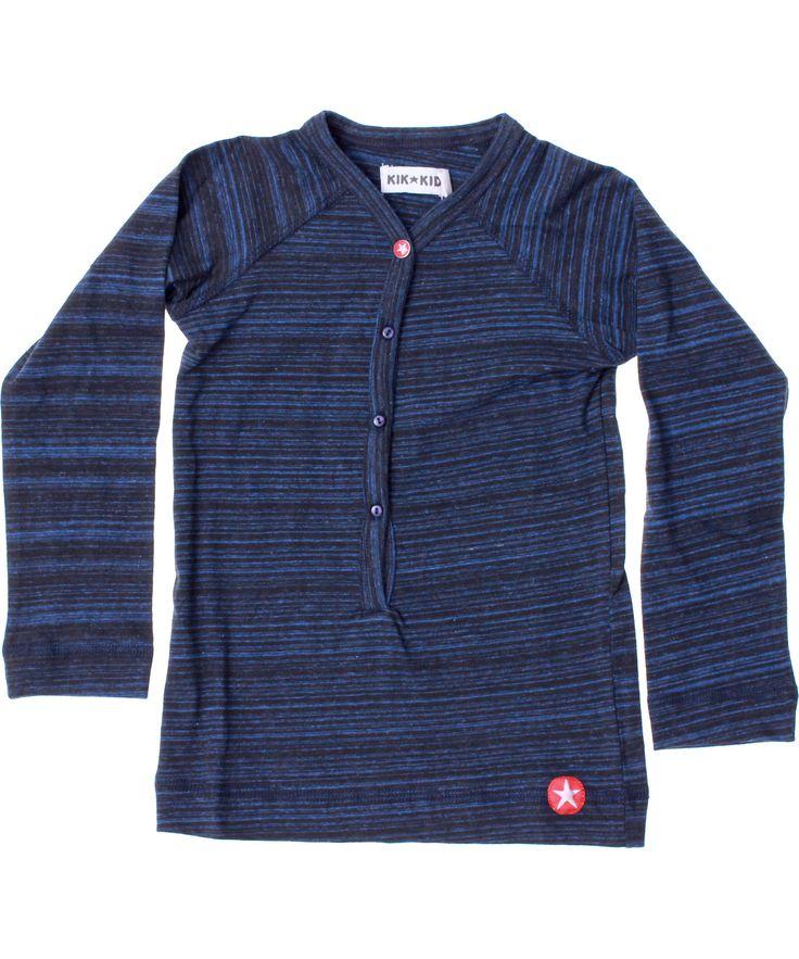 Kik-Kid blauw gestreepte t-shirt met knopjes. kik-kid.nl.emilea.be