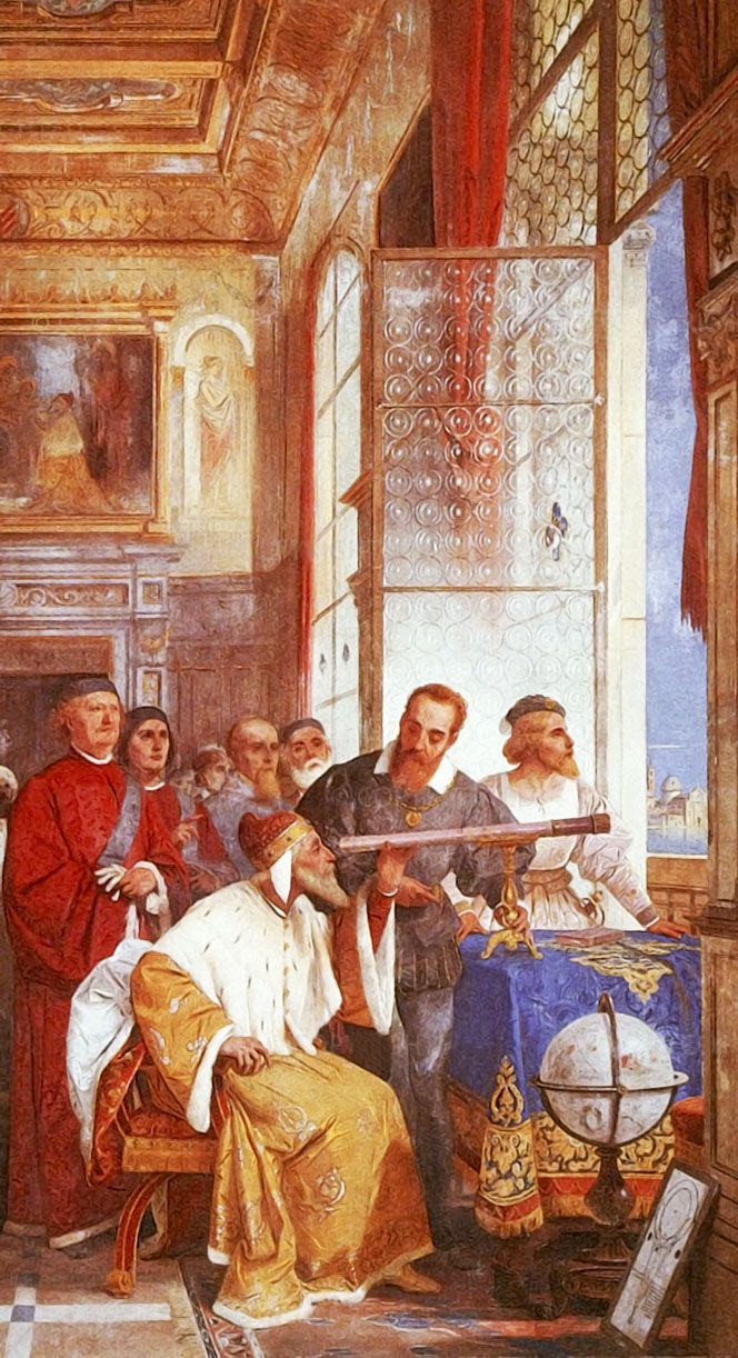 GALILEO GALILEI. Giuseppe Bertini. Galileo Galilei showing the Doge of Venice how to use the telescope. 1858.