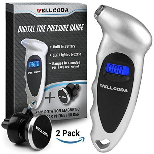 #Digital #Car #Tire #150 #PSI #Pressure #Gauge - Built-In #Batterry, #Lighted #Nozzle, #4 #Settings, Non-Slip #Grip, #Backlight #LCD #Display | #Perfect for #Car, #Motorcycle, #Bike and #SUV + #Bonus #Gift by #Wellcoda MULTIPLE #PRESSURE UNITS: One button lets you switch between #4 different measurement units - #PSI (150 PSI), kPa, Bar, Kg/cm2 POWER-SAVING MODE: Uses less power, goes on for longer thanks to a feature that automatically shuts off the #gauge after 30 seconds LI