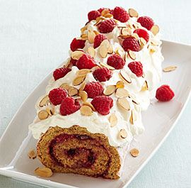 Almond Raspberry Jelly Roll Cake...only two Tbsp. flour and lots of eggs...that makes it healthy, right?!?!  I think I want to add cocoa to the cake batter because nothing is as delicious as chocolate and raspberries!!!