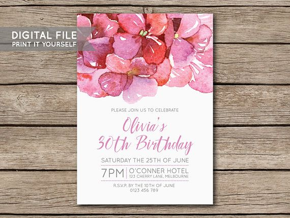 DIY Hydrangea Flower Watercolour Birthday Party Invitation