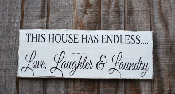 Laundry Decor - Laundry Room Sign - Love Laughter Laundry - Home Wall Hanging - Reclaimed Wood Rustic Laundry Wall Decor Housewares Humorous