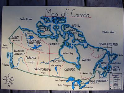 The students finished one of my favourite projects this week - Making Maps.  I LOVE how they turned out (and my students are so proud of their work, too).  I always do these maps as our first social studies unit (Mapping Skills) every year.  I alternate between World Maps one year, and Canada maps the next year.  That way, when I have a group of two students for two years in a row (I always have a split grade), they're not doing the same map twice.