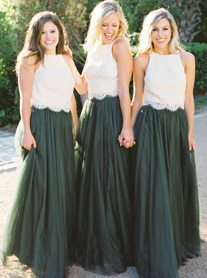 Zweiteiler Rundhals Dunkelgrün Tüll Brautjungfernkleid mit