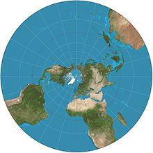 Stereographic projection of the world north of 30°S. 15° graticule.