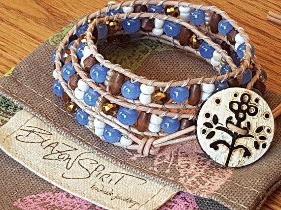 Beaded leather wrap bracelet 3x wrap 6.5 inch by BlazonSpirit