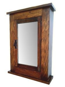 Primitive Mission Rustic Medicine Cabinet / Solid Wood Handmade / walnut Finish