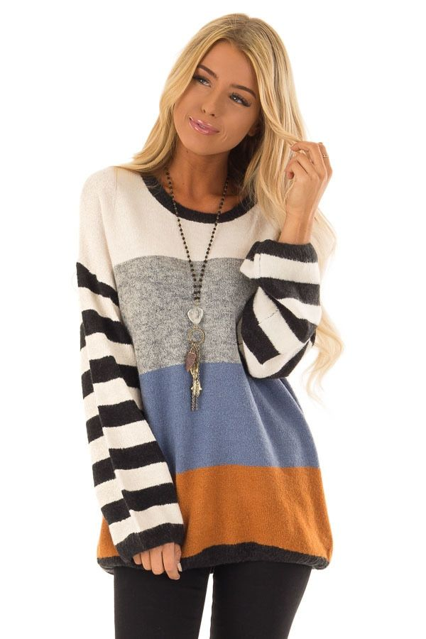9b877772d3d22b Ivory Color Block Sweater with Striped Long Sleeves front close up ...