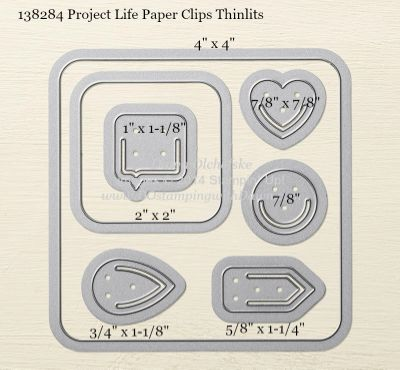 Project Life Paper Clips Thinlits sizes shared by Dawn Olchefske #dostamping #stampinup