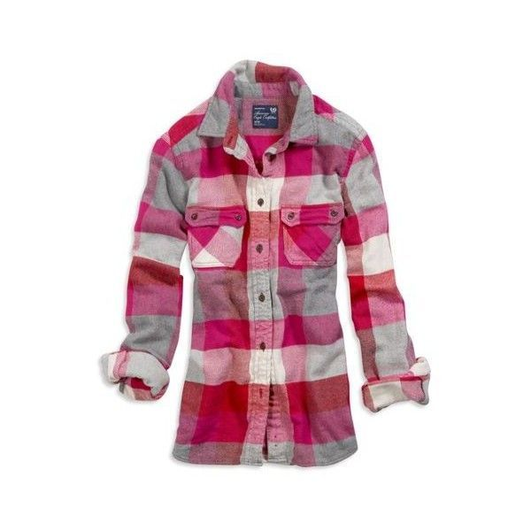 AE Women's Plaid Flannel Shirt (Pink) found on Polyvore