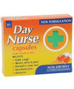 Medicines Day Nurse Capsules X 20 Day Nurse Capsules are for the day time relief of the symptoms of colds, chills and influenza. These symptoms include headache, shivers, aches and pains, blocked or runny nose, sore throat pain and a  http://www.MightGet.com/january-2017-11/medicines-day-nurse-capsules-x-20.asp