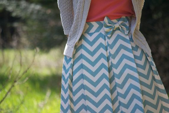 Pleated Chevron Skirt | Summer Blue by kelliefalconerdesign on Etsy