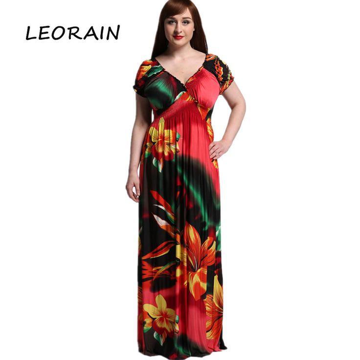 High Quality Plus Size Women's 2017 New Resort Beach Silk Print Short-sleeved Summer Maxi Women Boho Floral Dress 6xl LEORAIN
