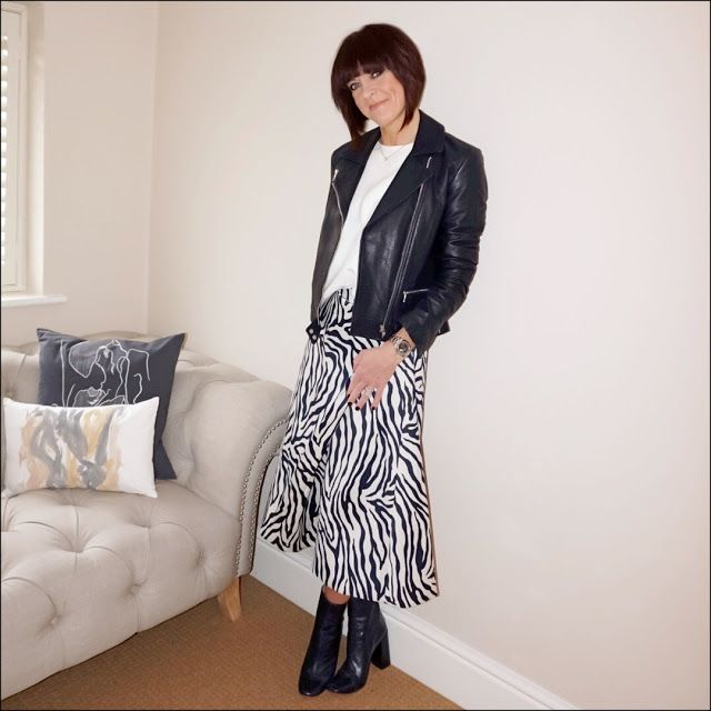 My Midlife Fashion, finery miniver zebra jacquard skirt, massimo dutti jumper, massimo dutti leather navy blue biker jacket, zara navy blue block heel ankle boots