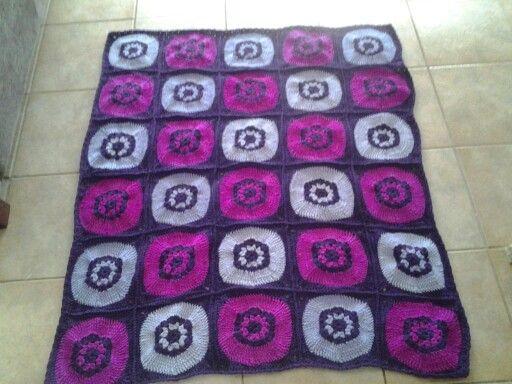 for Granddaughter (Window pane design crocheted blanket)