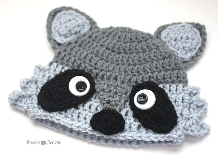 Crochet Raccoon Hat - Repeat Crafter Me - FREE PATTERN - sizes baby to adult !!  <3