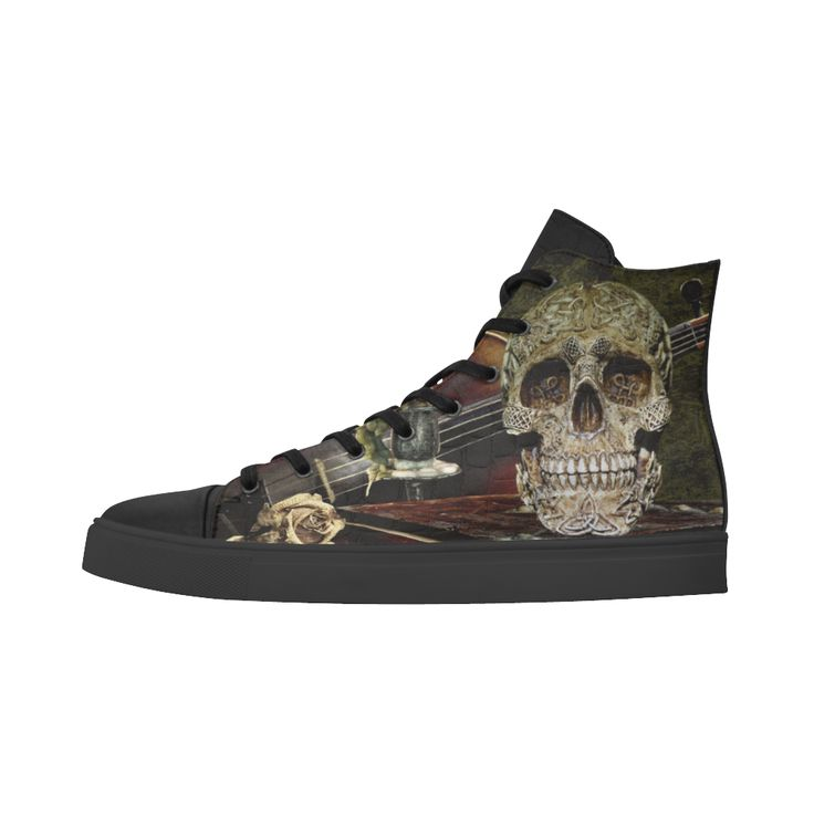 Funny Skull and Book Andromeda High Top Action Leather Women
