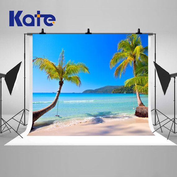 Sunny Tropical Beach Coconut Trees Photography Backdrops Blue Sky Sand Photo Backgrounds for Children Vacation Studio Props