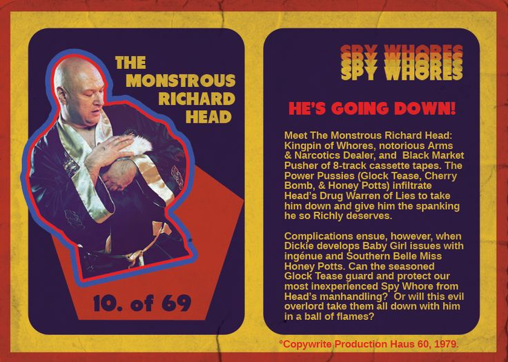 Richard Head is a Kingpin of Whores, Arms Dealer, & 8-track cassette pirate. http://spywhores.com/tv-trading-card-the-monstrous-richard-head/ #retrotv #tradingcards #80s #raunchy #silly