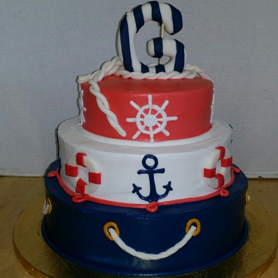 Nautical Themed 3 Tier Cake With Buttercream Anchors And