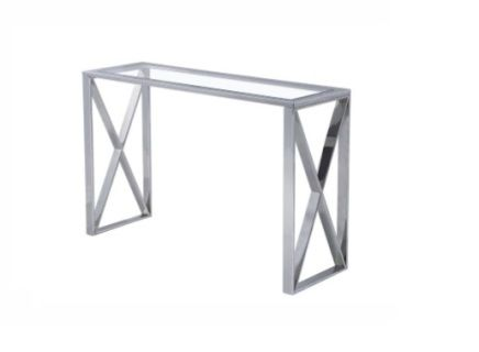 The Mizia Console Table is made of tempered glass top with stainless steel frame.  Big Size: L120 x W40 x H78 cm (L47.24xW15.75xH30.7 inches) Small Size: L100 x W35 x H78 cm (L39.3xW13.8xH30.7 inches)  Contact us for pricing.