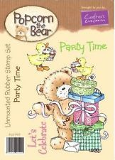 Crafters Companion Popcorn the Bear Rubber Stamp - Party Time
