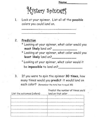 mystery spinners math probability math maniacs pinterest assessment math and worksheets. Black Bedroom Furniture Sets. Home Design Ideas