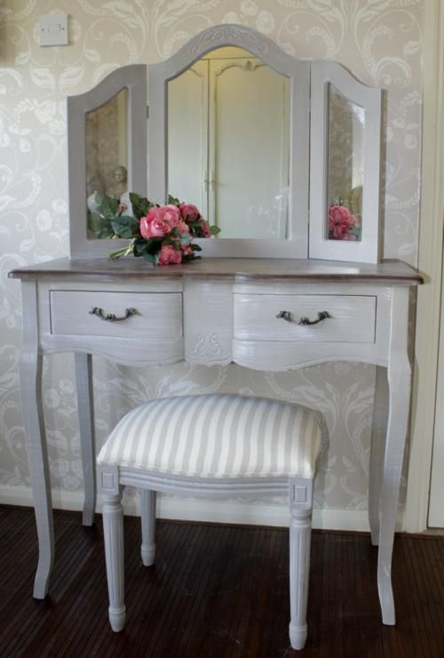 Grey dressing table mirror & stool - Melody Maison®