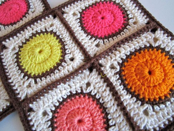 Crochet Pot Holders Hot Pad Retro by ColornCream on Etsy