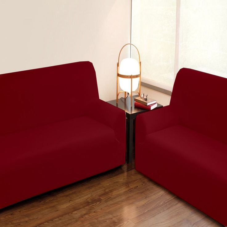 Fundas DUO Sofás 3+2 Burdeos TÚNEZ, combinado de dos fundas elásticas para sofás de 2 plazas y 3 plazas