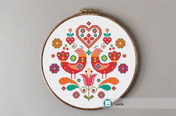 Scandinavian Folk Cross Stitch Patternmodern Pattern Pdf Etsy Scandinavian Cross Stitch Patterns Scandinavian Cross Stitch Folk Embroidery