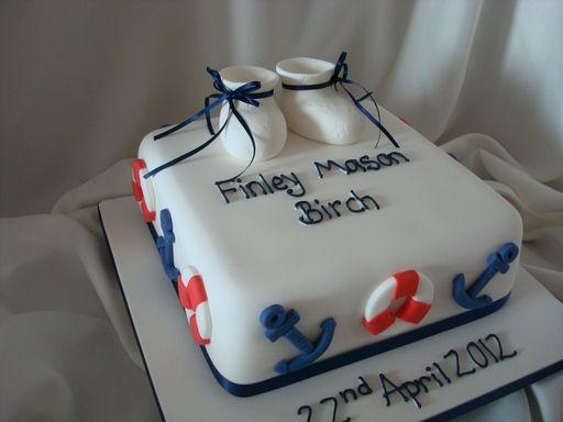 Nautical theme christening cake