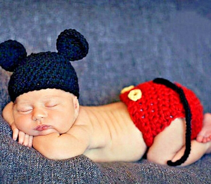 Baby crochet mickey mouse photography prop baby infant costume 0 4 mos usa sell