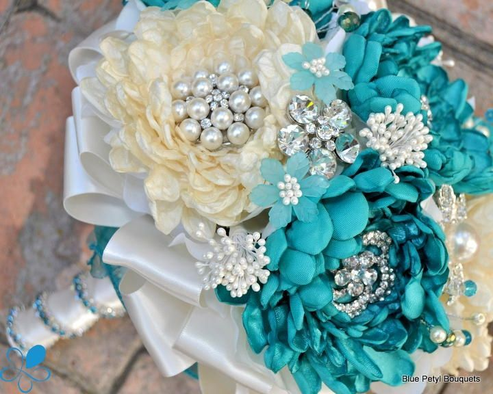 White Dahlia And Turquoise Bouquet