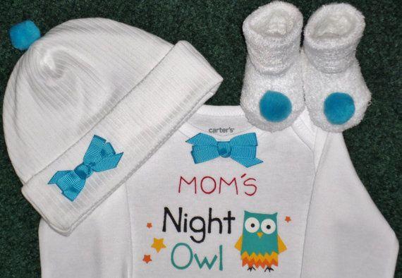 Mom's Night Owl Newborn Baby Girl Gift Set  Sweet by SugarBearHair