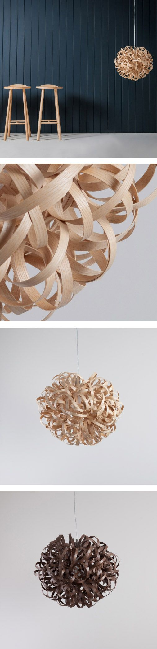 The beautiful sculptural form of Tom's iconic No. 1 Pendant is hand crafted using 80 metres of wood. Steam bent strips of ash (pale wood), oak (medium wood) or walnut (dark wood) are woven, coiled and twisted around one another to produce a unique and stunning lampshade whether you have the light on or off.